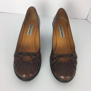 Steve Madden Robbee genuine leather brown wedge